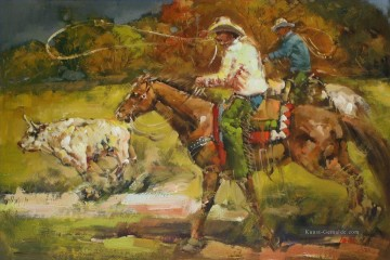 Indianer und Cowboy Werke - Cowboys Roping Cattle