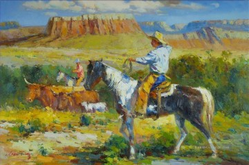 Indianer und Cowboy Werke - Cowboys grazing cattle
