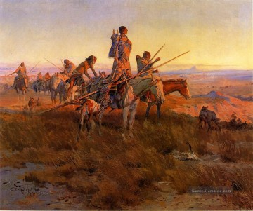 Indianer und Cowboy Werke - In the Wake of the Buffalo Hunters Indians Charles Marion Russell Indianer