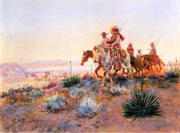 Mexican Buffalo Hunters Cowboy Indianer Charles Marion Russell Indianer Ölgemälde