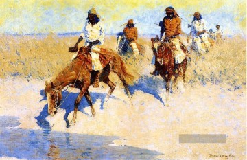 Pool in der Wüste Frederic Remington Cowboy Ölgemälde