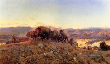 Indianer und Cowboy Werke - When the Land Belonged to God cattle Charles Marion Russell Indianer