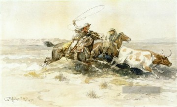 marion - Bronk in einem Kuhlager 1898 Charles Marion Russell Indiana Cowboy