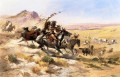 Attack on a Wagon Train Indians Charles Marion Russell Indianer