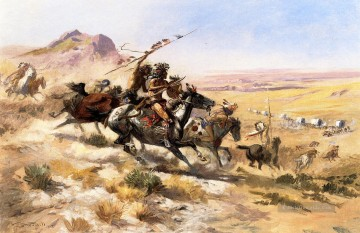 Indianer und Cowboy Werke - Attack on a Wagon Train Indians Charles Marion Russell Indianer