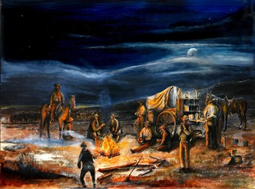 Indianer und Cowboy Werke - The Chuck Wagon Night Moon Campfire by Rahming