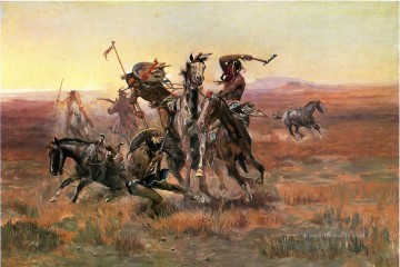 Indianer und Cowboy Werke - When Blackfeet and Sioux Meet cowboy Charles Marion Russell Indianer