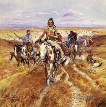 Indianer und Cowboy Werke - When the Plains Were His Indians Charles Marion Russell Indianer