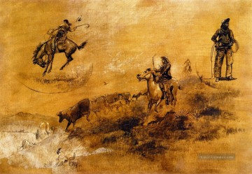 Bronco Busting 1889 Charles Marion Russell Indiana Cowboy Ölgemälde