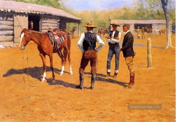 Buying Polo Ponys im Westen Frederic Remington Cowboy Ölgemälde