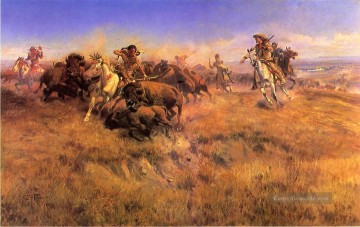 Cowboy Kunst - Lauf Buffalo Cowboy Indianer Charles Marion Russell Indianer