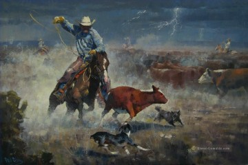 Indianer und Cowboy Werke - cowboy catching cattle in storm