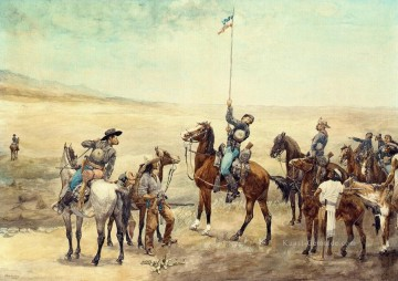 Indianer und Cowboy Werke - Signaling the Main Command Frederic Remington cowboy