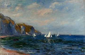 Strand Werke - Cliffs and Sailboats at Pourville Claude Monet Beach