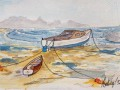 boat on Strand Aquarell