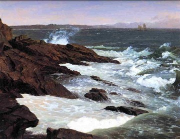 Strand Werke - Fog off Mount Desert Landschaft Hudson Fluss Frederic Edwin Church Beach