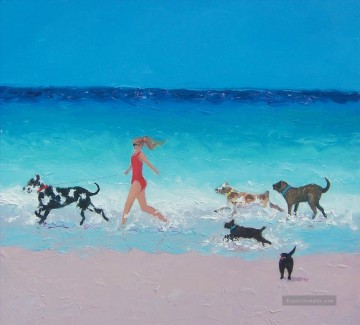 Strand Werke - girl and Hunde running on beach
