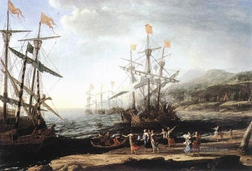 Strand Werke - Marine with the Trojans Burning their Boats Landschaft Claude Lorrain Beach