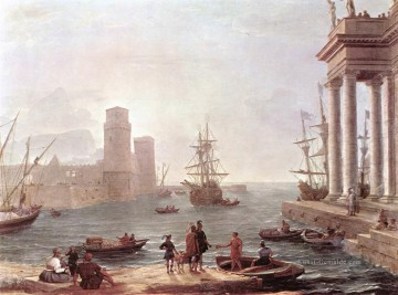 Strand Werke - Port Scene with the Departure of ulysses from the Land of the Feaci Landschaft Claude Lorrain Beach
