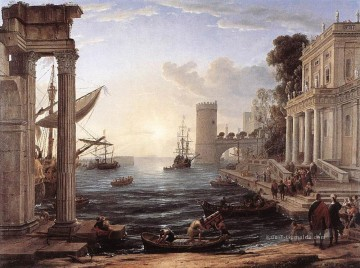 Strand Werke - Seaport with the Embarkation of the Queen of Sheba Landschaft Claude Lorrain Beach