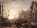 Port Scene with the Villa Medici Landschaft Claude Lorrain Beach