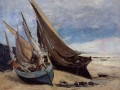 Fishing Boats on the Deauville Strand Realismus Gustave Courbet