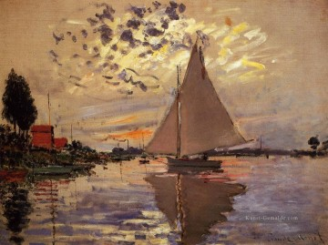 monet seerosen Ölbilder verkaufen - Sailboat at Le Petit Gennevilliers Claude Monet