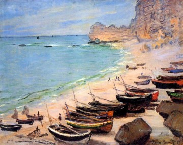 monet seerosen Ölbilder verkaufen - Boats on the Strand at Etretat Claude Monet