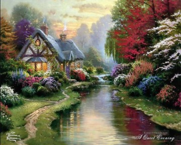 A Quiet Evening Thomas Kinkade Landschaft Strom Ölgemälde