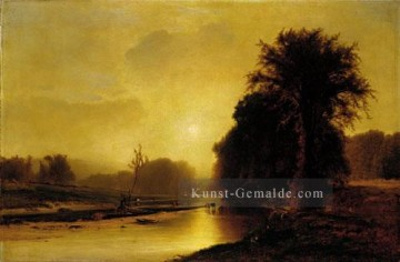 Autumn Meadows Landschaft Tonalist George Inness Fluss Ölgemälde