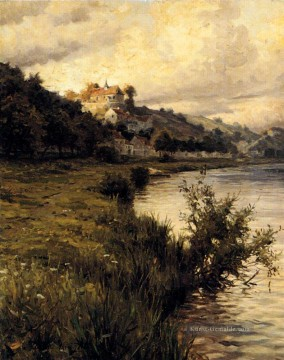 Hilltop Chateau Landschaft Louis Aston Knight Fluss Ölgemälde
