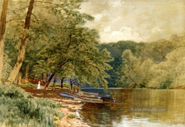 Rowboats for Hire Alfred Thompson Bricher Fluss Ölgemälde