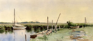 Segelboote in einem Inlet Alfred Thompson Bricher Fluss Ölgemälde