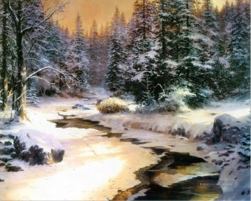 Winter s End Thomas Kinkade Landschaft Strom Ölgemälde