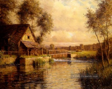alte Mühle in der normandie Landschaft Louis Aston Knight Fluss Ölgemälde