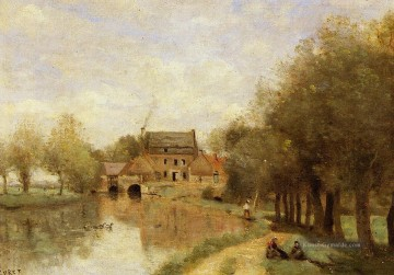Corot Galerie - Arleux du Nord die Drocourt Mühle auf dem Sensee Jean Baptiste Camille Corot Bach
