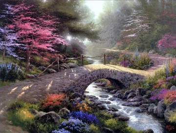 Bridge Of Faith Thomas Kinkade Landschaft Fluss Ölgemälde