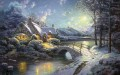Weihnachten Moonlight Thomas Kinkade Landschaft Fluss
