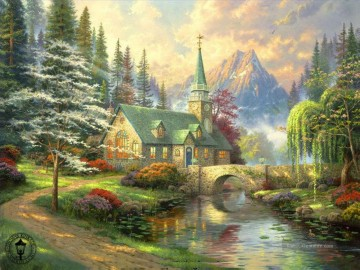 Dogwood Kapelle Thomas Kinkade Landschaft Fluss Ölgemälde