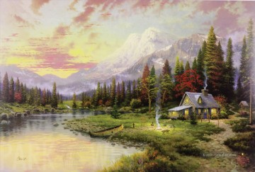 Evening Majesty Thomas Kinkade Landschaft Fluss Ölgemälde