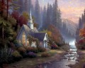 Waldkapelle Thomas Kinkade Landschaft Fluss