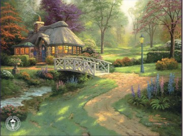 Friendship Cottage Thomas Kinkade Landschaft Fluss Ölgemälde