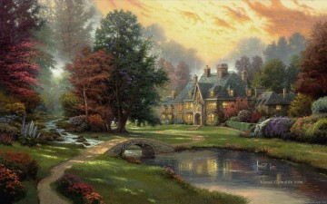 Lakeside Manor Thomas Kinkade Landschaft Fluss Ölgemälde