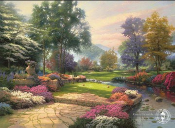 Living Waters Golfer Paradies Loch One Thomas Kinkade Landschaft Fluss Ölgemälde