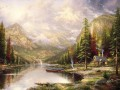 Berg Majesty Thomas Kinkade Landschaft Fluss