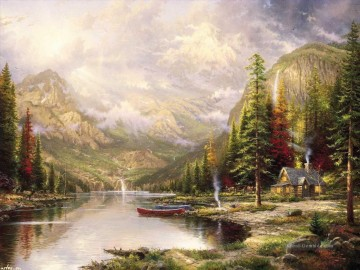 Berg Majesty Thomas Kinkade Landschaft Fluss Ölgemälde