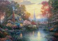 Nanette Cottage Thomas Kinkade Landschaft Fluss