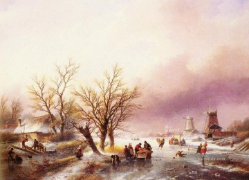 A Winter Landschaft Jan Jacob Coenraad Spohler Stromen Ölgemälde