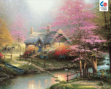 Stepping Stone Cottage Thomas Kinkade Landschaften Bach Ölgemälde