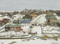 EARLY SPRING IN THE VILLAGE Konstantin Yuon Stadtbild Stadtszenen